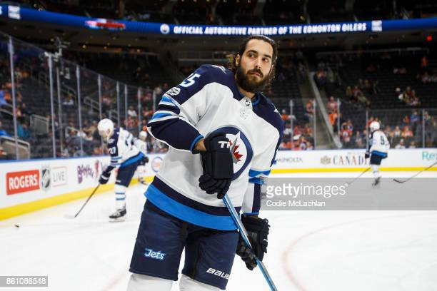 Mathieu Perreault of the Winnipeg Jets warms up before playing the Edmonton Oilers at Rogers Place on October 9 2017 in Edmonton Canada