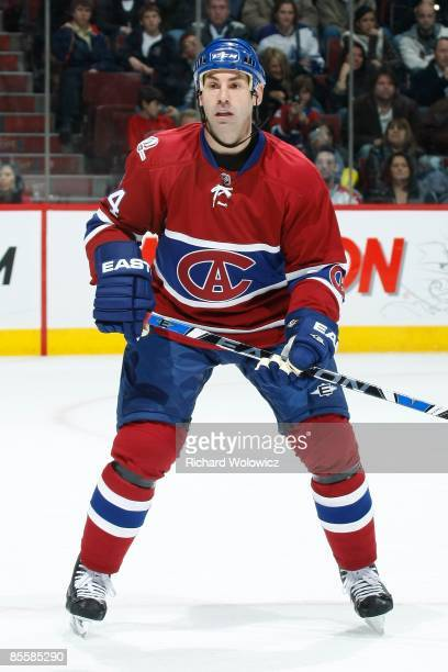 Mathieu Schneider of the Montreal Canadiens skates during the NHL game against the Toronto Maple Leafs at the Bell Centre on March 21 2009 in...