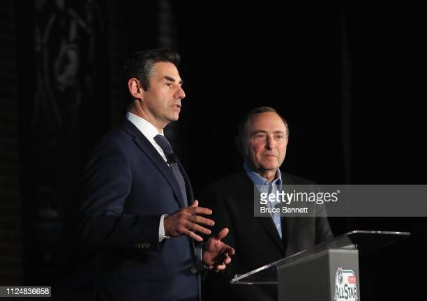 Mathieu Schneider of the NHLPA and NHL Commissioner Gary Bettman attend a press conference during the NHL All Star Week at the McEnery Convention...