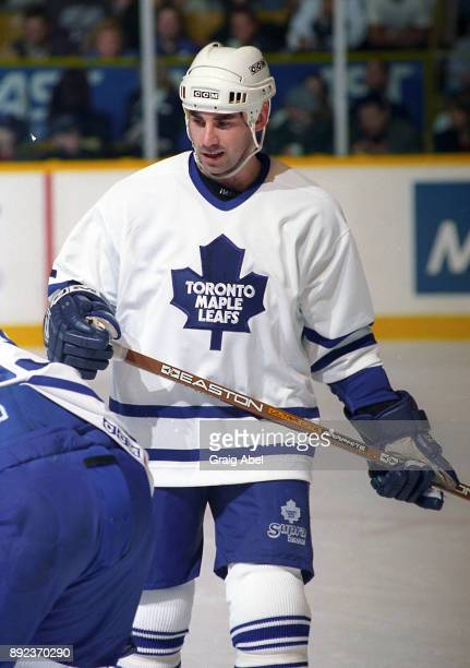 Mathieu Schneider of the Toronto Maple Leafs skates against the Dallas Stars on March 15 1996 at Maple Leaf Gardens in Toronto Ontario Canada
