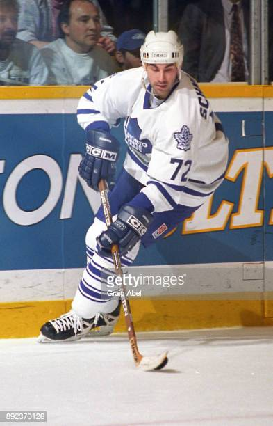 Mathieu Schneider of the Toronto Maple Leafs skates against the Vancouver Canucks during NHL game action on March 17 1996 at Maple Leaf Gardens in...
