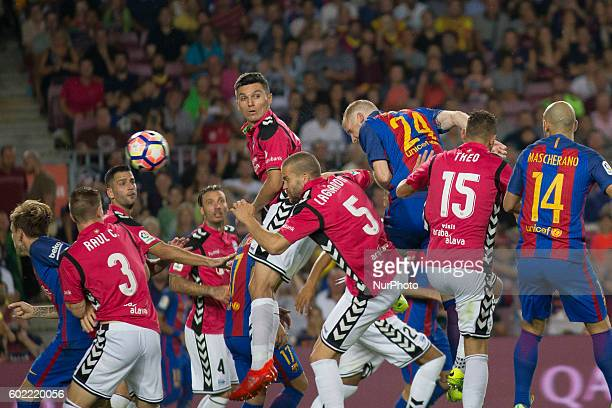 Mathieu scoring during La Liga match between FC Barcelona v D Alaves in Barcelona on September 10 2016