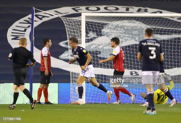 Mathieu Smith of Millwall celebrates after scoring his team's third goal during the Carabao Cup Second Round match between Milwall FC and Cheltenham...