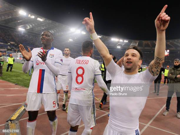 Mathieu Valbuena Corentin Tolisso and Mouctar Diakhaby of Olympique Lyonnais celebrate after the UEFA Europa League Round of 16 second leg match...