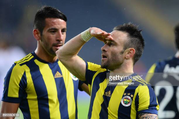 Mathieu Valbuena of Fenerbahce celebrates 20 during the Turkish Super lig match between Fenerbahce v Karabukspor at the Sukru Saracoglustadion on...
