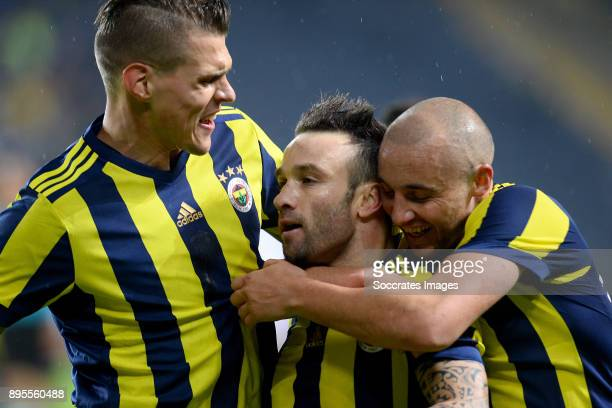 Mathieu Valbuena of Fenerbahce celebrates 20 with Aatif Chahechouhe of Fenerbahce during the Turkish Super lig match between Fenerbahce v Karabukspor...