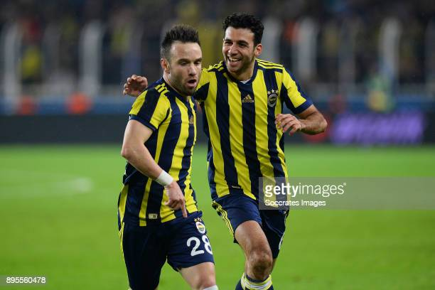 Mathieu Valbuena of Fenerbahce celebrates 20 with Guiliano Victor De Paulo of Fenerbahce during the Turkish Super lig match between Fenerbahce v...