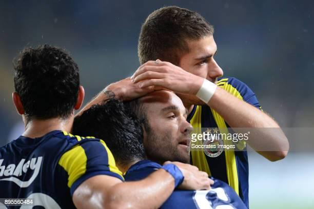 Mathieu Valbuena of Fenerbahce celebrates 20 with teammates during the Turkish Super lig match between Fenerbahce v Karabukspor at the Sukru...