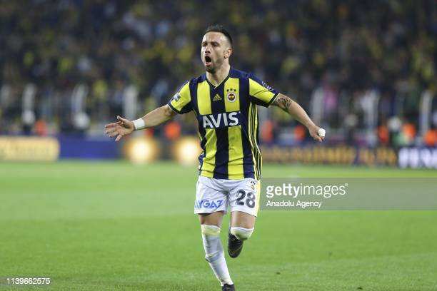 Mathieu Valbuena of Fenerbahce celebrates after scored a goal during Turkish Super Lig week 30 soccer match between Fenerbahce and Trabzonspor at the...