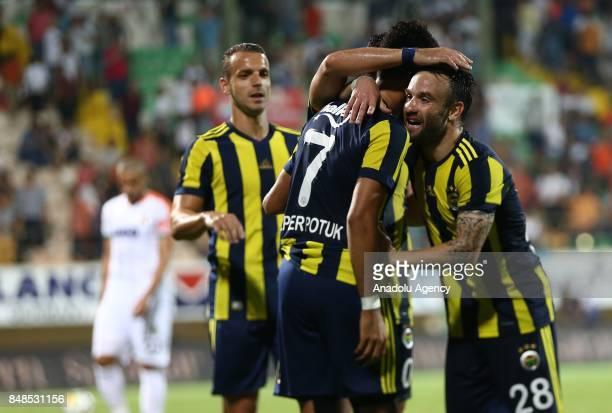 Mathieu Valbuena of Fenerbahce celebrates after scoring a goal during 5th week of the Turkish Super Lig match between Aytemiz Alanyaspor and...