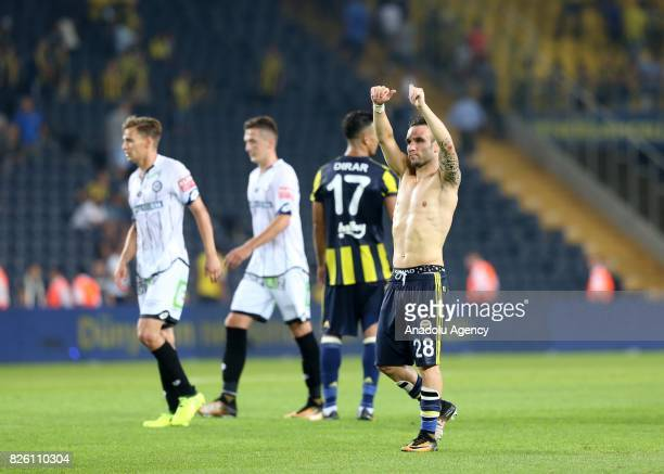 Mathieu Valbuena of Fenerbahce greets fans after the UEFA Europa League third qualifying round 2nd leg match between Fenerbahce and Sturm Graz at...