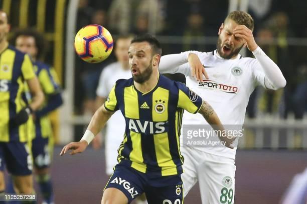 Mathieu Valbuena of Fenerbahce in action against Nejc Skubic of Atiker Konyaspor during Turkish Super Lig soccer match between Fenerbahce and Atiker...