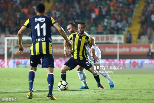 Mathieu Valbuena of Fenerbahce in action during 5th week of the Turkish Super Lig match between Aytemiz Alanyaspor and Fenerbahce at the Bahcesehir...