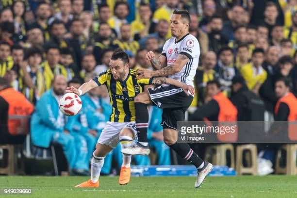 Mathieu Valbuena of Fenerbahce SK Adriano Correia Claro of Besiktas JK during the Ziraat Turkish Cup match Fenerbahce AS and Besiktas AS at the Sukru...