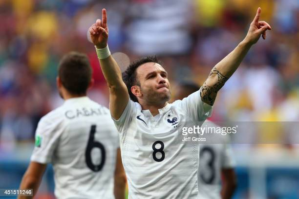 Mathieu Valbuena of France celebrates his team's secong goal on an own goal by Joseph Yobo of Nigeria during the 2014 FIFA World Cup Brazil Round of...