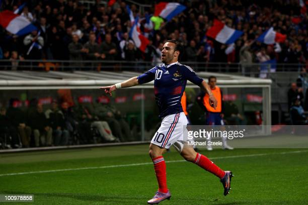Mathieu Valbuena of France celebrates scoring the winning goal during the France v Costa Rica International Friendly match at Stade Felix Bollaert on...
