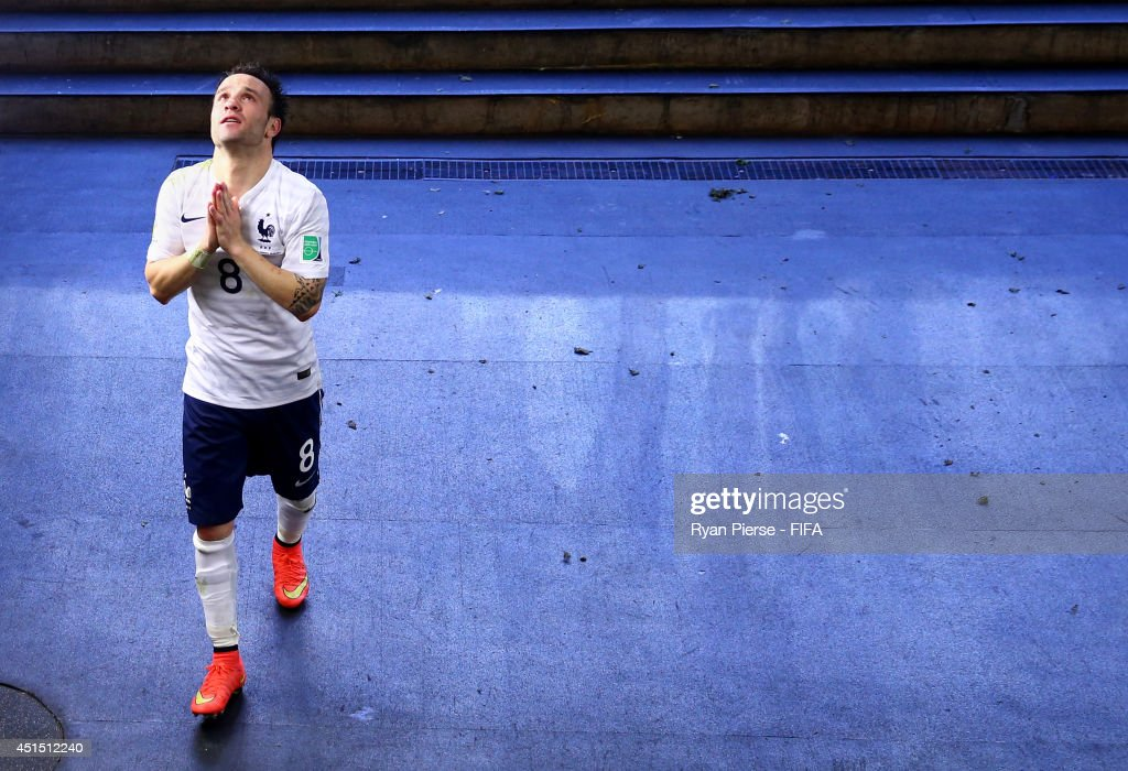 Mathieu Valbuena of France celebrates the win in the tunnel after the 2014 FIFA World Cup Brazil Round of 16 match between France and Nigeria at Estadio Nacional on June 30, 2014 in Brasilia, Brazil.
