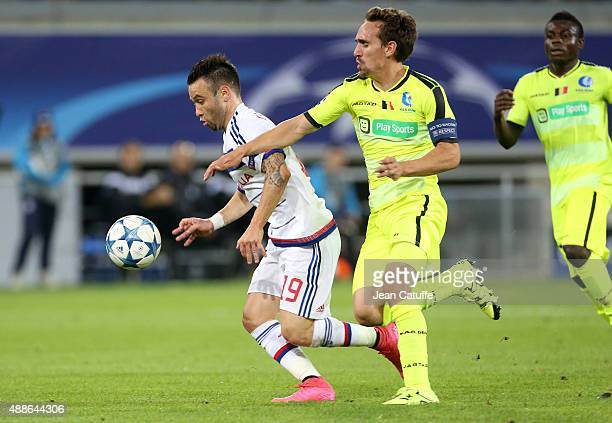 Mathieu Valbuena of Lyon and Sven Kums of KAA Gent in action during the UEFA Champions League match between KAA Ghent and Olympique Lyonnais at...