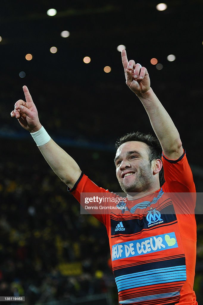 Mathieu Valbuena of Marseille celebrates after the UEFA Champions League group F match between Borussia Dortmund and Olympique de Marseille at Signal Iduna Park on December 6, 2011 in Dortmund, Germany.