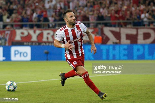 Mathieu Valbuena of Olympiacos celebrates after he scores his sides second goal from the penalty spot during the UEFA Champions League group B match...
