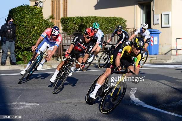 Mathieu Van Der Poel of Netherlands and Team Alpecin-Fenix, Caleb Ewan of Australia and Team Lotto Soudal & Wout Van Aert of Belgium and Team Jumbo -...
