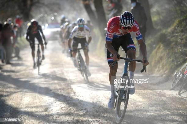 Mathieu Van Der Poel of Netherlands and Team Alpecin-Fenix, Julian Alaphilippe of France and Team Deceuninck - Quick-Step & Egan Arley Bernal Gomez...