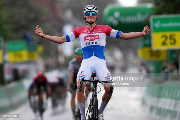 Mathieu Van Der Poel of Netherlands and Team Alpecin-Fenix stage winner celebrates at arrival during the 84th Tour de Suisse 2021, Stage 2 a 178km...