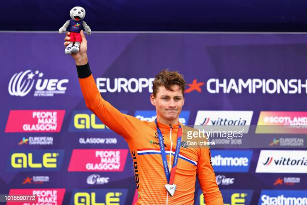Mathieu Van Der Poel of Netherlands celebrates after winning silver in the Men's Road Race during the road cycling on Day Eleven of the European...