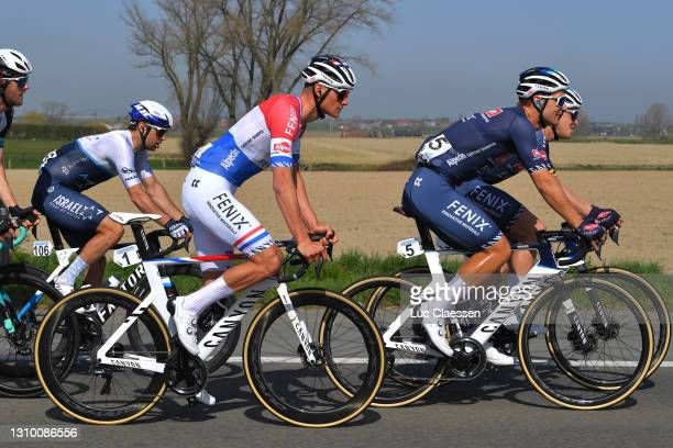 Mathieu Van Der Poel of Netherlands, Jonas Rickaert of Belgium & Tim Merlier of Belgium and Team Alpecin-Fenix during the 75th Dwars Door Vlaanderen...