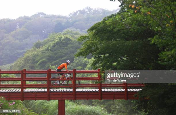 Mathieu van der Poel of Team Netherlands crosses a bridge on the circuit during the Men's Cross-country race on day three of the Tokyo 2020 Olympic...
