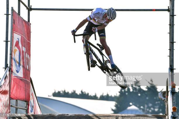 Mathieu Van Der Poel of The Netherlands and and Team Corendon - Circus UCI Cyclo-cross Rainbow World Champion Jersey / Jump / during the 60th SP...