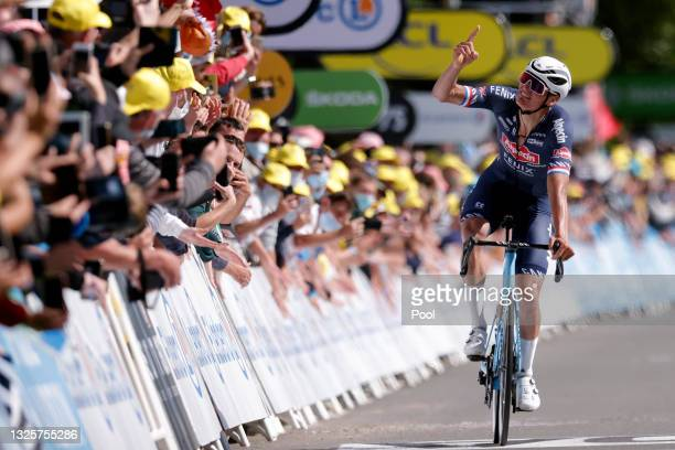 Mathieu Van Der Poel of The Netherlands and Team Alpecin-Fenix stage winner celebrates at arrival during the 108th Tour de France 2021, Stage 2 a...
