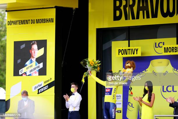 Mathieu Van Der Poel of The Netherlands and Team Alpecin-Fenix yellow leader jersey celebrates at podium during the 108th Tour de France 2021, Stage...