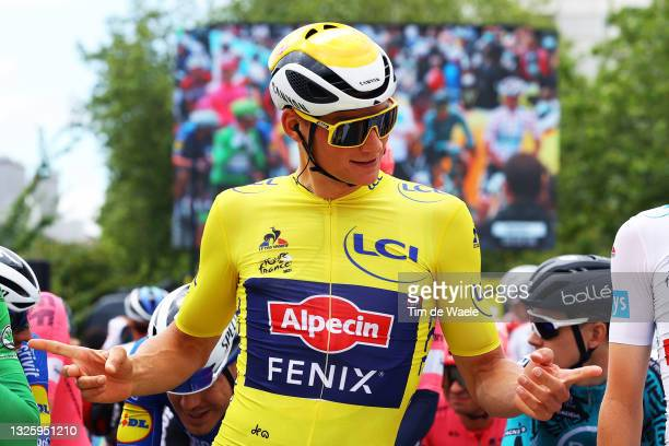 Mathieu Van Der Poel of The Netherlands and Team Alpecin-Fenix yellow leader jersey at start during the 108th Tour de France 2021, Stage 3 a 182,9km...