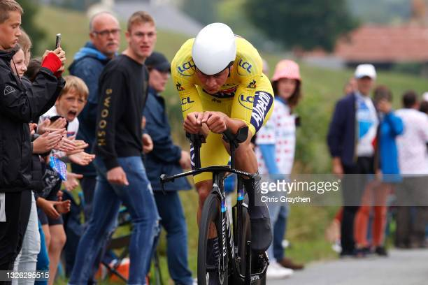 Mathieu Van Der Poel of The Netherlands and Team Alpecin-Fenix Yellow Leader Jersey during the 108th Tour de France 2021, Stage 5 a 27,2km Individual...