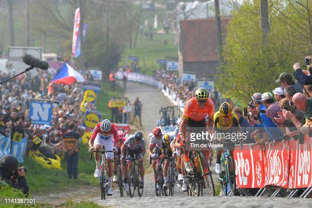 Mathieu Van Der Poel of The Netherlands and Team Corendon-Circus / Wout Van Aert of Belgium and Team Team Jumbo-Visma / Greg Van Avermaet of Belgium...