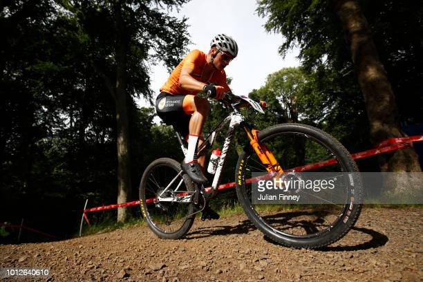 Mathieu Van Der Poel of the Netherlands rides during the Men's Mountain Bike CrossCountry on Day Six of the European Championships Glasgow 2018 at...