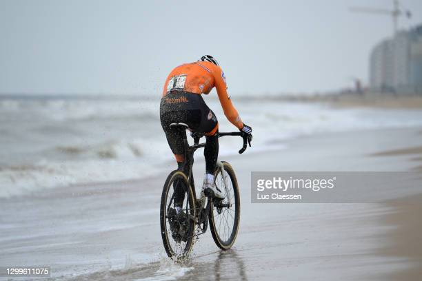 Mathieu Van Der Poel of The Netherlands / Sea / Beach / Sanitary Stop / during the 72nd UCI Cyclo-Cross World Championships Oostende 2021, Men Elite...