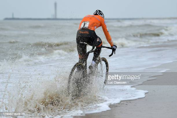 Mathieu Van Der Poel of The Netherlands / Sea / Sand / Beach / during the 72nd UCI Cyclo-Cross World Championships Oostende 2021, Men Elite / @UCI_CX...