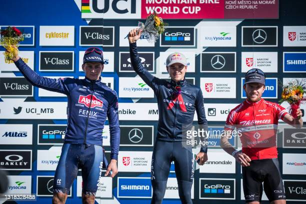 Mathieu van der Poel of The Netherlands, Thomas Pidcock of Great Britain, Mathias Flueckiger of Switzerland during the Mercedes-Benz UCI Mountain...