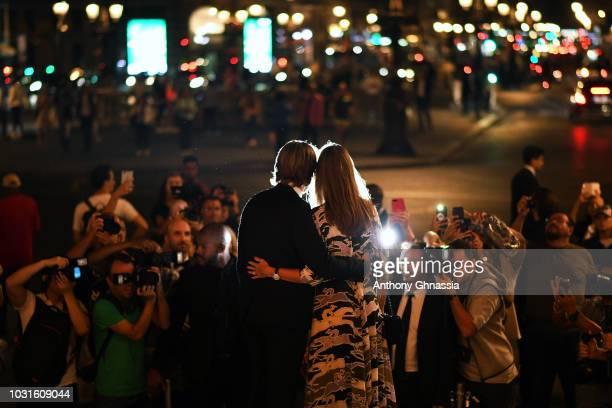 Mathieu Vergne and Ophelie Meunier arrive at Longchamp 70th Anniversary Celebration at Opera Garnier on September 11 2018 in Paris France