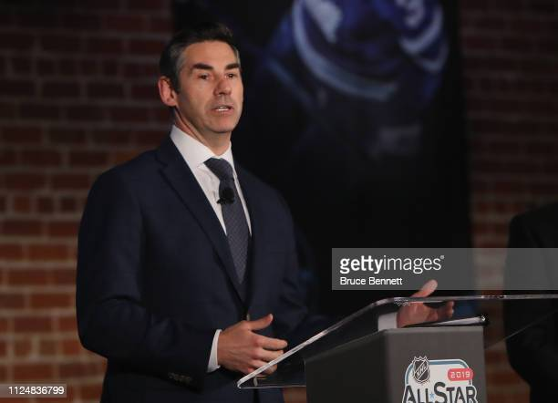 Mathieum Schneider of the NHLPA speaks during a press conference during the NHL All Star Week at the McEnery Convention Center on January 25 2019 in...