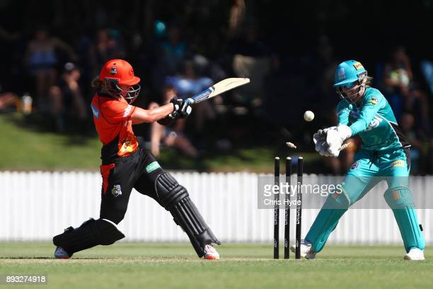Mathilda Carmichael of the Scorchers hits the ball onto the stumps during the Women's Big Bash League match between the Brisbane Heat and the Perth...
