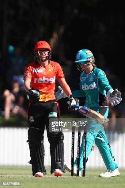 Mathilda Carmichael of the Scorchers leaves the field after being dismissed during the Women's Big Bash League match between the Brisbane Heat and...