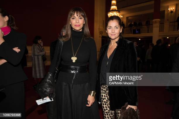 Mathilda May and Cristina Reali are photographed for Paris Match at the evening for the Al Pacino Show at the Theatre de Paris on October 22 2018 in...