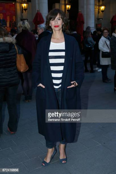 Mathilda May attends La Recompense Theater Play at Theatre Edouard VII on April 24 2017 in Paris France