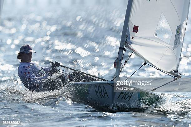 Mathilde de Kerangat of France competes in the Women's Laser Radial class on Day 4 of the Rio 2016 Olympic Games at the Marina da Gloria on August 9...