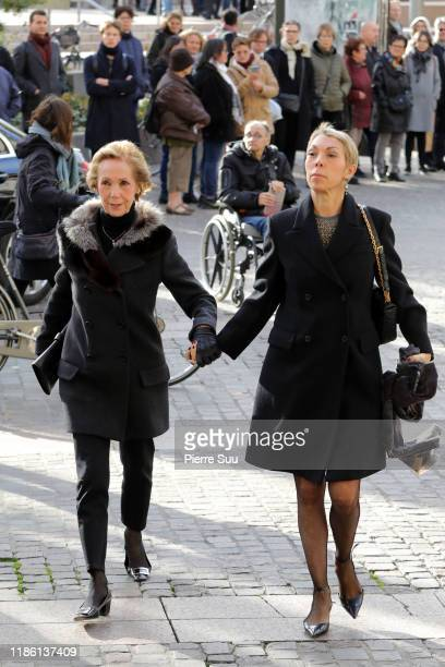 Mathilde Favier and a guest attend Marie Laforet's funeral at Eglise Saint Eustache on November 07, 2019 in Paris, France.