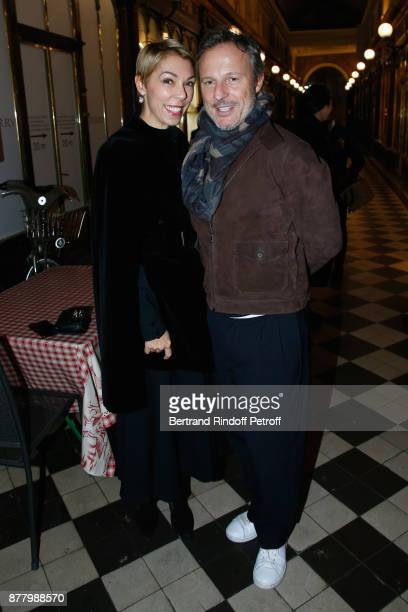 Mathilde Favier and Olivier Bialobos attend the Ligne Blanche Boutique Opening at Galerie VeroDodat on November 23 2017 in Paris France