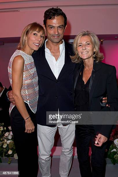 Mathilde Faviermeyer Karim Zeriahen and Claire Chazal attend the Auction Dinner to Benefit 'Institiut Imagine' on September 10 2015 in Paris France